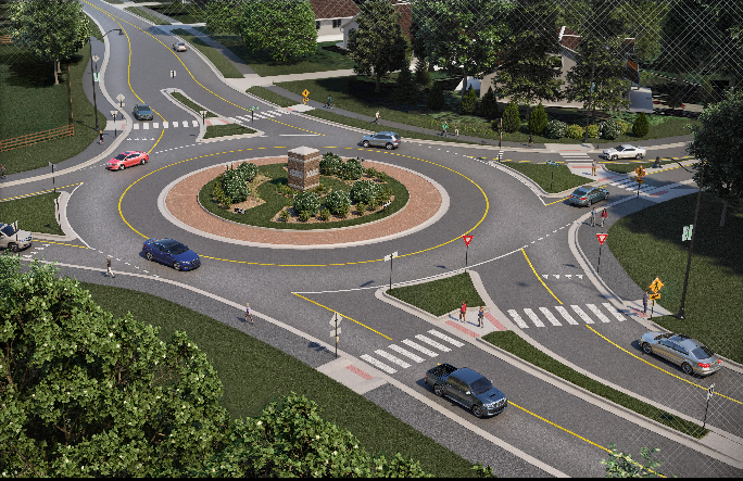 The City of Westfield was granted approximately $2 million to construct a roundabout at Oak Ridge Road and Greyhound Pass. The proposal received backlash from Village Farms neighborhood residents. (Submitted rendering)