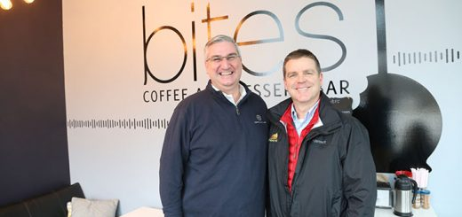 Indiana Gov. Eric Holcomb and Zionsville Mayor Tim Haak at Bites coffee and dessert bar Feb. 3. (Photo by Ann Marie Shambaugh)