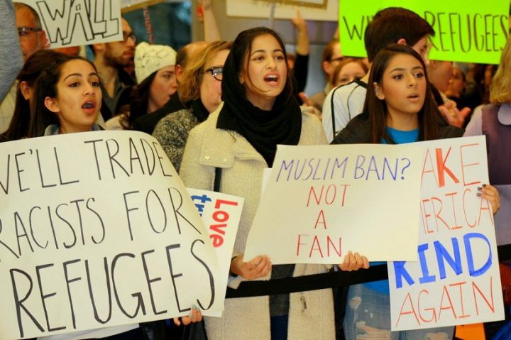 Hera Ashraf participates in a rally at the Indianapolis International Airport on Jan. 29 protesting President Donald Trump's executive orders banning refugees and travel from certain countries. (Submitted photo)