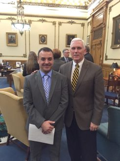 In December 2016, Ali Al-Rawi met then-Gov. Mike Pence when he visited his office to represent refugees in Indiana. Pence had attempted to block aid to Syrian refugees at the state level, but his policy was ruled unconstitutional in court. (Submitted photo)