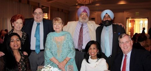 Rani Cheema, Winnie Ballard, former Indianapolis mayor Greg Ballard, Jane Gradison, Robbie Singh, Mrs. KP Singh, 2016 Interfaith Ambassador KP Singh and Maninder Walia.