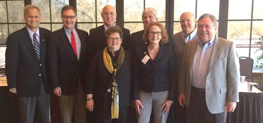 From left, State Sen. Jim Merritt, State Sen. John Ruckelshaus, State Sen. Mike Delph, State Rep. Tony Cook, State Sen. Luke Kenley, State Rep. Kathy Richardson, State Rep. Donna Schaibley and State Rep. Jerry Torr at the breakfast. (Photo by Adam Aasen)