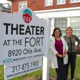 Arts for Lawrence Marketing and Program Director Lecia Floyd and Executive Director Judy Byron pause outside of the historic Theater at the Fort. (Photo by Sadie Hunter)