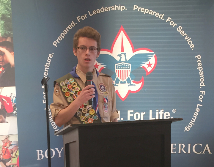 Eagle Scout Mack Bentivoglio, of Troop 152, tells stores of his Scouting experience at the event. (Photos by Anna Skinner)