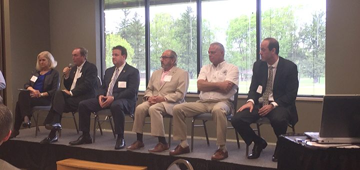 Cutline: County council members and county commissioners presented at the legislative breakfast series at Conner Prairie May 12. From left, Christine Altman, Steve Dillinger, Mark Heirbrandt, Rick Ayers, Brad Beaver and Fred Glynn. (Photo by Anna Skinner)