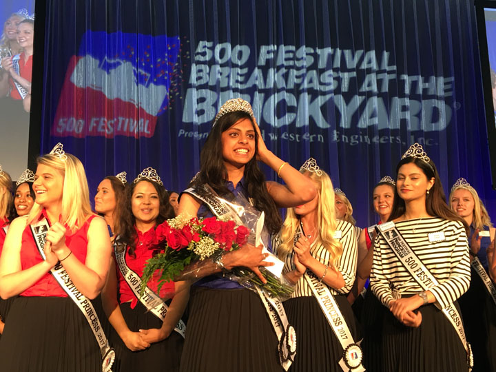 Shivani Bajpai is crowned the 500 Festival Queen at the Breakfast at the Brickyard May 20 at the Indianapolis Motor Speedway. (Photo by Dawn Pearson)