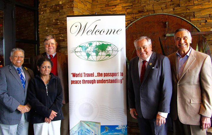 ND-0523-WA Travel Club luncheon2Dr. Ashok Van, visited more than 300 countries and is listed as the ninth most traveled person in the world according to Most Traveled Person website; his wife Kenchana Van, who has visited more than 150 countries; Charles Merkel, St. Louis chapter Coordinator; Kevin Hughes; Frank Basile.