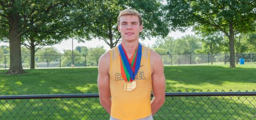 Ryan Lipe displays the four medals he earned at the state meet. (Photo courtesy of James Lipe)