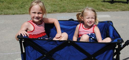Noelle and Lilli Pahnke wear patriotic clothing during the event. (Photo by Anna Skinner)