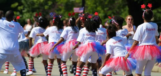 Cheerleaders from the Lawrence Township Football League dance during the parade. (Photo by Sadie Hunter)