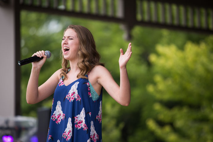 Taylor Bickett on stage at CarmelFest Has Talent July 4. (Submitted photo by Zach Dobson)