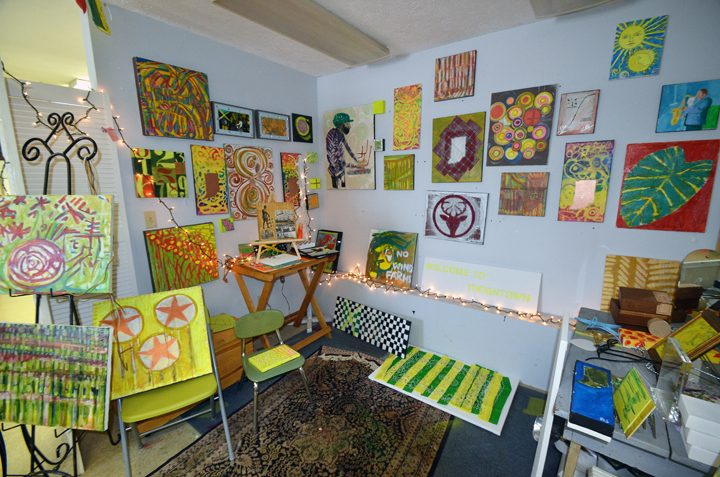 Inside Salewicz's work space at Sugar Creek Art Center in Thorntown. (Photo by Sara Baldwin)