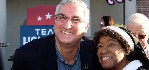 Gov. Eric Holcomb with Sister Sue Jenkens (Indianapolis). (Photo by Amy Pauszek)