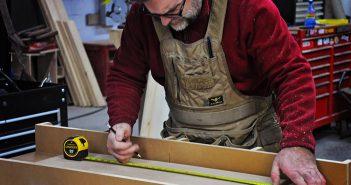 Tabb Adams, owner of Cross Cut Vintage Designs, begins work on handcrafting a custom piece. (Submitted photo)