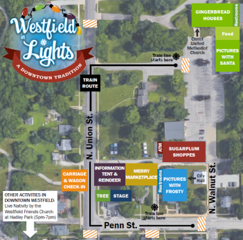 A map including train routes, vendor locations and more for Westfield in Lights.