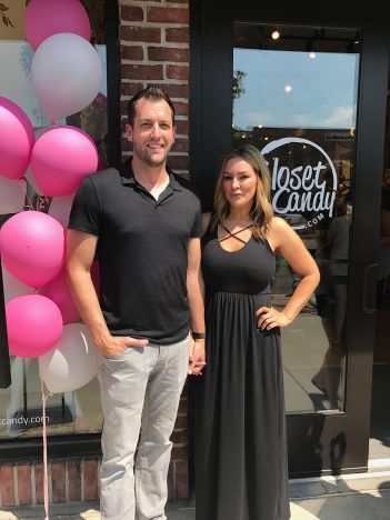 Chad and Christina Smith pause at the grand opening of Clos- et Candy Boutique in August. More than 1,000 people attended the grand opening event. (Submitted photo)