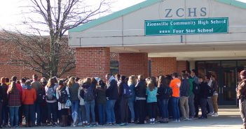 ZCHS students participate in the March 14 walkout. (Photo by Heather Lusk)