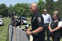 Lt. Bruce Barnes gives an update during a media conference in front of Noblesville West Middle School. (Photo by Anna Skinner)
