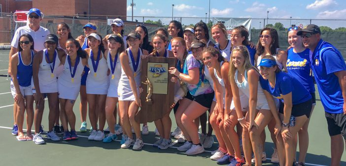 The Carmel High School girls tennis team won the team title. (Photo by Mark Ambrogi)