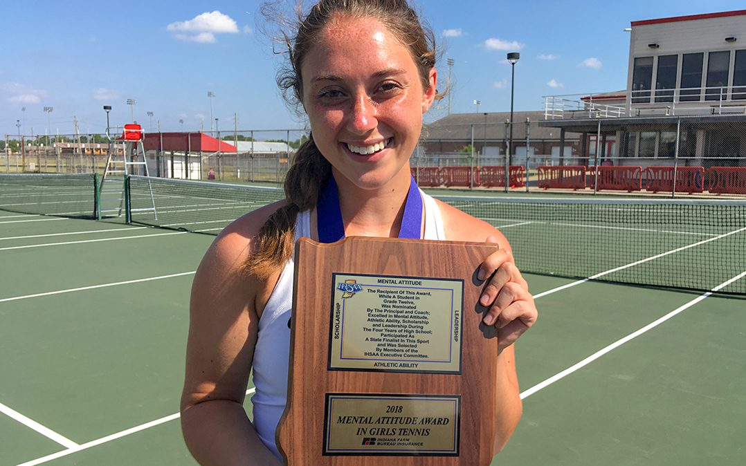 CHS senior Grace Marchese displays the IHSAA Mental Attitude Award for girls tennis. (Photo by Mark Ambrogi)