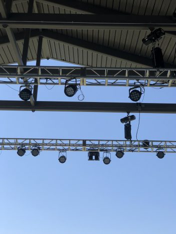 High-impact LED lights were installed in the new Nickel Plate District Amphitheater.