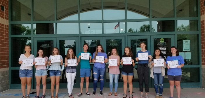 From left, Hannah Nichols, Savannah Myers, Josephine Collier, Celine Thormann, Seth Workman, Audrey Fischer, Sophie Thormann, Ann Bennett, Lindsay Severson, Nur Koksal and Claire Joyce. Students not pictured who received certificates are Ashley Arriaga, Noah Ditzler, Matthew Edwards, Erick Luna Lopez, Matias Olmedo, Alyssa Mathis, Molly Ruggles, London Jenkins, Ashley Salazar and Eliza Schneider.