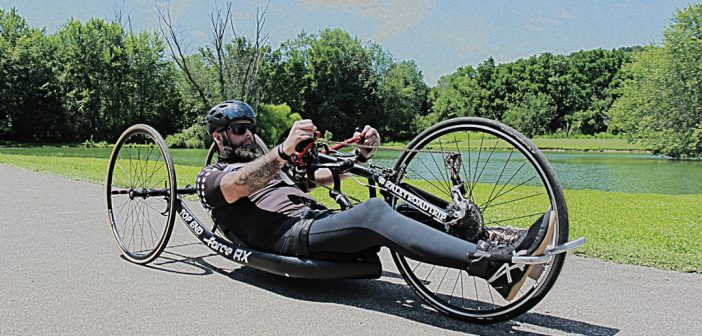 "Ricky Raley, a disabled U.S. Army veteran from Westfield, will ride his handcycle, the ""Rubber Ducky II,"" on a 1,500-mile journey to raise funds for the Boot Campaign. (Submitted photos)"