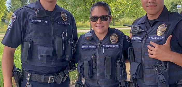 From left, officers Anuar Velazquez, Noreen Henriquez and Eli Rebollar.