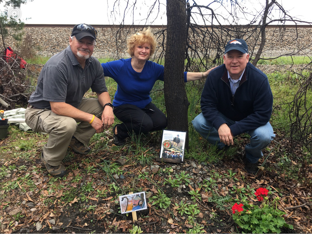 From left, Jay Hamerstadt, Margo Finney and Jim Hamerstadt pause at the site of a plane crash where their brother, Bill Hamerstadt, died in 2016. (Submitted photo)