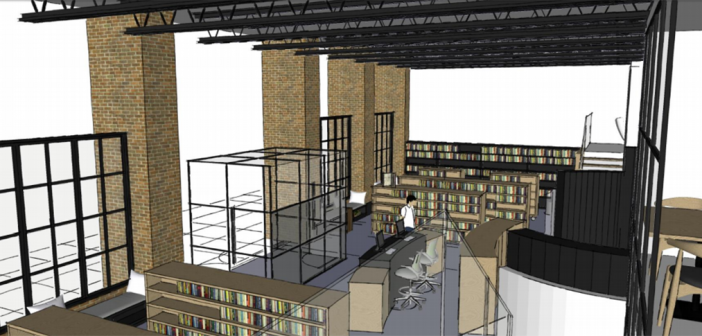 A view of the Carmel Clay Public Library's future west branch from the mezzanine level. (Submitted rendering)