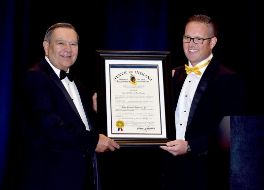 Noblesville Mayor John Ditslear receives Sagamore of the Wabash
