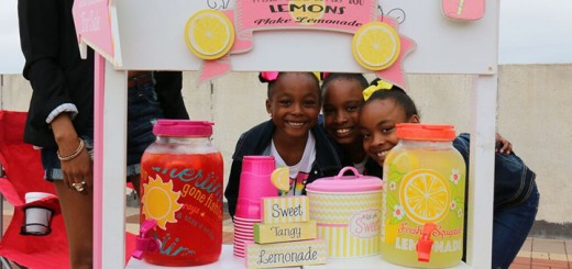 Amya Mccoy (6, left), Alair Mccoy (9, center), and Aaliyah Mccoy (8, right) said they enjoyed selling lemonade to customers at the Carmel City Center.
