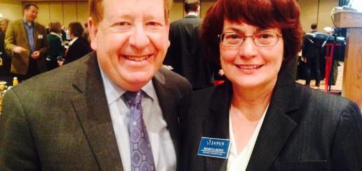 Carmel Mayor Jim Brainard poses for a photo withJanusboard secretary Marcia Honz. (photo by Adam Aasen)