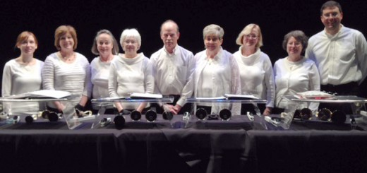 From left: Veronica Bigham, Susan Noonan, Gretchen Sheridan, Cheri Shockney, Fred Yde, Rose Ann Ernst, Margaret Kettle, Marie Harris, Brian Cox. (Photo by handbell choir member Patricia Bigham)