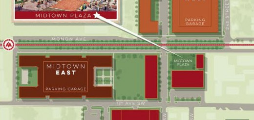 A layout of the Midtown area shows parking garages. (Submitted graphic)
