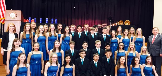 The Carmel Middle School Choir with Carmel Mayor Jim Brainard (right). Photo by Amy Pauszek