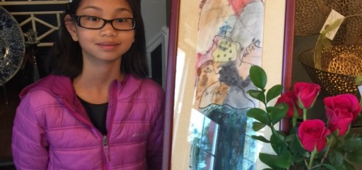 Melina Becker, 11, Carmel, with her painting at Artichoke Designs. (Submitted photo)
