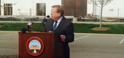 Mayor Jim Brainard speaks at the construction site of Drury Hotel at 96th and Meridian. (Photo by Adam Aasen)