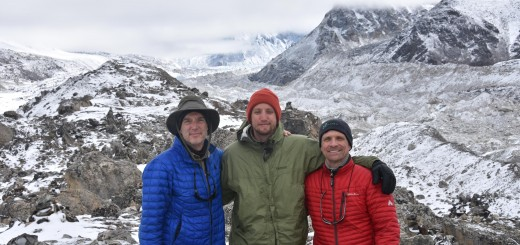 "From left to right is Glenn Moehling, Mark Moehling and Mike Myers in the Himilayas. ""Everest Base Camp is well behind us here with about a three-hour hike needed to get there.  Elevation here is 16,300 feet,"" Glenn stated about the photo. (Submitted photo)"