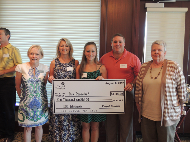 """Nancy Blondin, far right, stands with award recipients at a scholarship ceremony. """"The chamber was her baby,"""" said former Carmel Chamber of Commerce Chairmain Randy Sorrell. """"You always had a friend in Nancy."""" (Submitted photo)"""