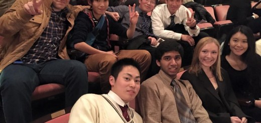 Back row left to right: Sam Bognanno, Masa Fujiwara, Kevin Chen, Masaki Shibano, Front row: Ryuji Shibata, Atif Niyaz, Alex Isler, Jenny Yang. These students were photographed at the March 21 evening performance of the ISO at the Hilbert Circle Theater.