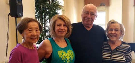 From left: Resident Jean Umemura, officer Nancy Zellers, and residents Bob Stoup with his wife Juli Hall pose before their workout. Zellers, a police officer, teaches Zumba every Saturday. (Submitted photo)