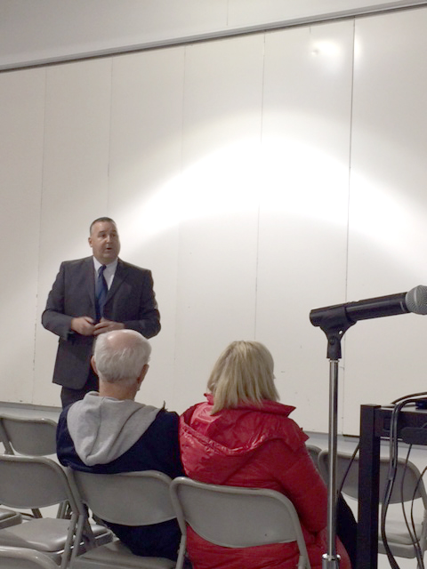 Sgt. Bill Clifford speaking at the public education forum on Jan. 29.