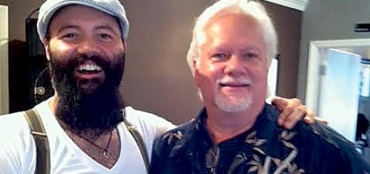 Rick Kingston (right) with Rev. Peyton, the leader of Rev. Peyton's Big Damn Band.