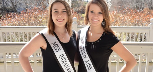 Chesley Rowlett, left, and Rachel Berry, right, in their tiaras in downtown Carmel. Both girls have achieved pageantry success this year.������������������� ������