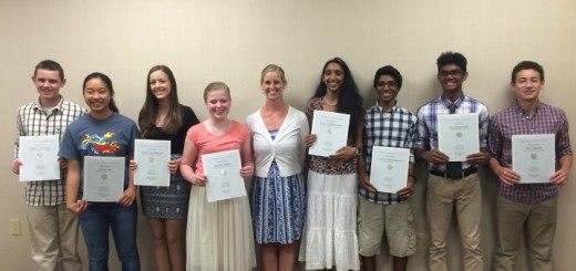 From left: Jakob Salisbury, Jessica Mo, Caitlin Harshberger, Hailey Adams, Mrs. Katie Kelly (Teacher), Sitha Vallabhaneni, Shiva Vallabhaneni, Jay Natarajan, and Max Toubin pose with their National History State Contest Winners certificates. (Photo by Maddie Stevens)
