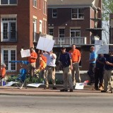 Protestors on Main Street in Carmel are workers from AT&T. (Submitted photo)